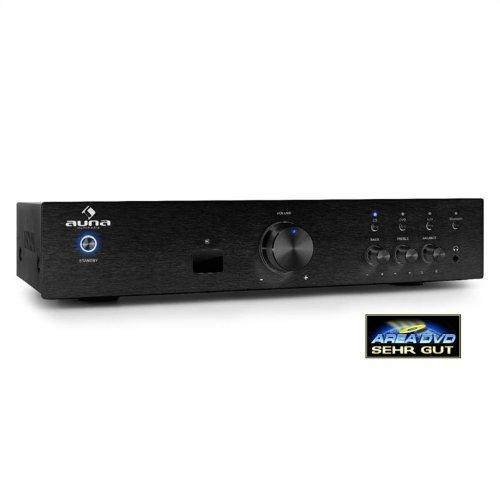 AUNA AV2-CD508BT - Amplificatore HiFi, Home Cinema, Potenza Max 600 W, Bluetooth 3.0, Aux In, 3 Ingressi RCA Stereo, Telecomando, Pannello Frontale in Acciaio Inox, Nero
