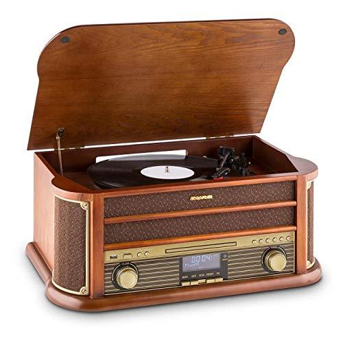 Auna Belle Epoque 1908 - Giradischi, Stereo, Radio Digitale, Dab+, Design retrò, Lettore di Vinili, FM, Bluetooth, Lettore CD, MP3, Funzione RDS, Cassetta, USB, Marrone