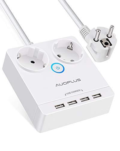 AUOPLUS Multipresa 2 Prese AC e 4 Porte USB Protezione contro le Sovratensioni Cavo da 1.5 m Multipresa Compatta per Viaggio,Ufficio, Casa,Viaggi,Colore Bianco