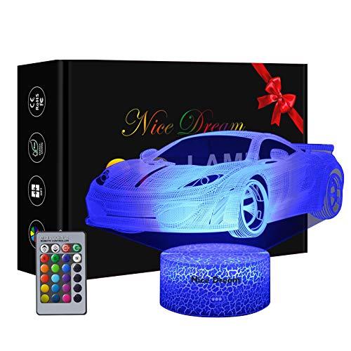 Auto Sportiva Lampade 3D Illusione Ottica Luce Notturna, Lampada Led Da Tavolo Illuminazione Luce Di Notte, 16 Colori Controllo Tattile Lampada Decorazione Da Comodino Con Cavo Usb