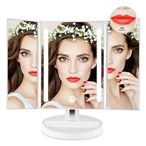 Auxmir Specchio Trucco con Luci 20 LED Specchio da Tavolo con Ingranditore 10X, Luminosità Regolabile a Touch Screen 180° Girevole Ideale Regalo per Ragazza Donna