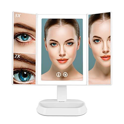 Auxmir Specchio Trucco con Luci 60 LED Specchio Ingranditore Pieghevole 7X/5X Luminosità Regolabile 3 Colori a Interruttore a Tocco Rotazione 90° Ideale per Trucco, Rasatura e Lenti Contatto