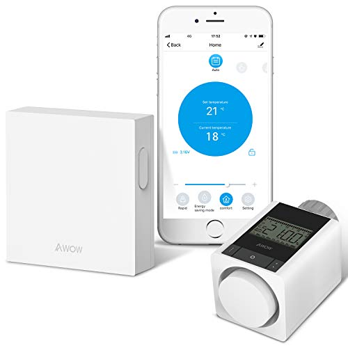 AWOW Smart Home Set Termostato Termostato per termosifoni con termostato Zigbee e Gateway WiFi, per tutte le valvole dei termosifoni, compatibile con Alexa, Google Assistant, telecomando app