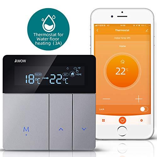 AWOW Termostato Smart Home WiFi, termostato da parete, controllo intelligente del riscaldamento a pavimento, acqua riscaldamento compatibile con Alexa, Google Assistant, app Smart Life
