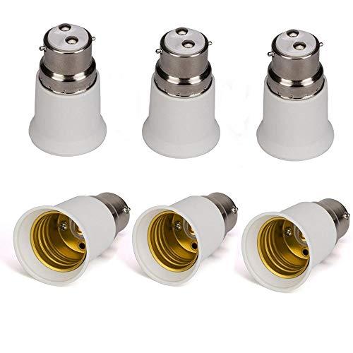 B22 a E27 6-Pack Supporto Lampada Convertitore Base Lampadina Socket Adattatore LED Luce Vite Adattatore Convertitore