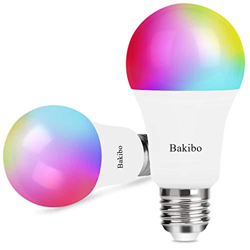 bakibo Lampadina Wifi Intelligente Led Smart Dimmerabile 9W 1000Lm, E27 Multicolore Lampadina Compatibile con Alexa e Google Home, A19 90W Equivalente RGBCW Colore Cambiante Lampadina, 2 Pcs