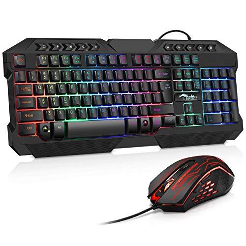 BAKTH Tastiera e Mouse da Gioco, Colore da Arcobaleno LED Retroilluminato Cablata USB Gaming Tastiera e Mouse per PC Videogiochi Gamer o Lavoro