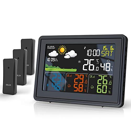 BALDR Stazione meteo radio con 3 sensori esterni, termometro igrometro con previsioni meteo, stazione meteo a colori DCF, sveglia, visualizzazione dell'ora, schermo chiaro (nero)