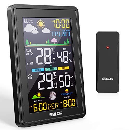 BALDR Stazione Meteo,Stazione Meteorologica Meteo Automatica Digitale Wireless con Ampio Schermo LCD Display,Previsioni Meteo Termometro Temperatura Interno Esterno,per Casa, Ufficio