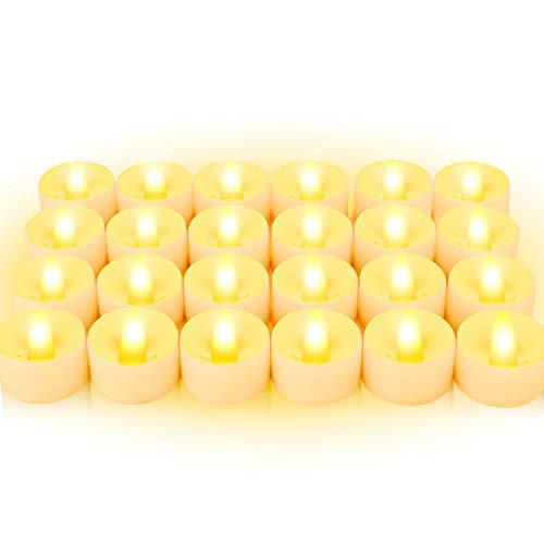 BAONUOR - 24 candele LED a luce tremolante, senza fiamma, con batteria CR2032, per interni ed esterni