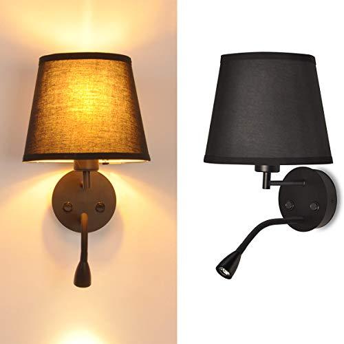 BarcelonaLED - Lampada da parete a LED E27, con lampada da lettura orientabile, flessibile, 3 W, con interruttore in tessuto, per camera da letto, testiera del letto