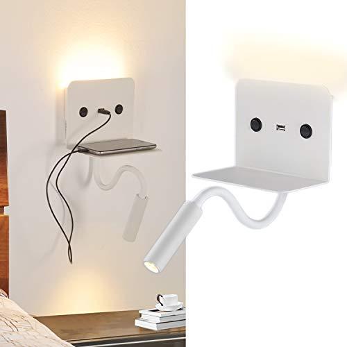 BarcelonaLED - Lampada da parete a LED, per lettura, 6 W, con faretto flessibile da 3 W, bianco caldo, orientabile e base di ricarica USB, per camera da letto, testiera