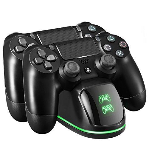 Base di Ricarica Doppio per Controller PS4,Stazione di Ricarica con Indicatore LED, Caricabatterie PS4 Funziona con Joypad, PlayStation 4, PS4 Slim e PS4 Pro