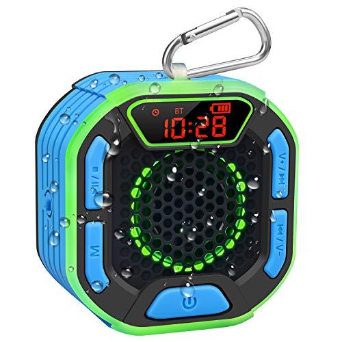 BassPal Cassa Bluetooth Portatile per Doccia, Altoparlante Impermeabile IPX7 con Suono Potente, Display a LED, Moschettone, Spettacolo di Luci, TWS, Bluetooth Speaker per Spiaggia, Piscina, Festa