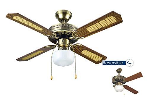 Bastilipo Ventilatore da soffitto con luce, E27, 60 W 105 x 32 cm CUOIO