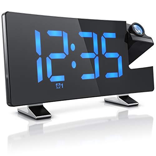 Bearware – Nuova Radio sveglia FM – Proiettore ora blu – Volume sveglia regolabile - Display autodimmer - 15 stazioni memorizzabili – Porta USB per carica Smatphone – Tasti senza bip