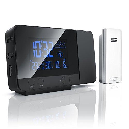 Bearware - Stazione Meteo Senza Fili con proiezione e sensore Esterno - Orologio DCF radiocomandato- Funzione di Ricarica USB