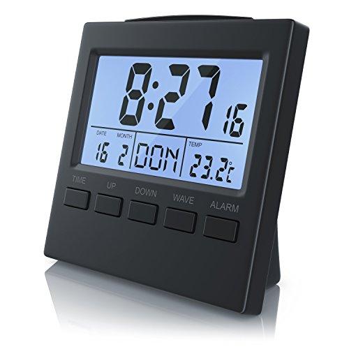 Bearware - Sveglia Digitale con indicazione della Temperatura - Sveglia radiocontrollata DCF - Sveglia da Viaggio - Display LCD da 3,3 Pollici con retroilluminazione a LED - Funzione Snooze - Indoor