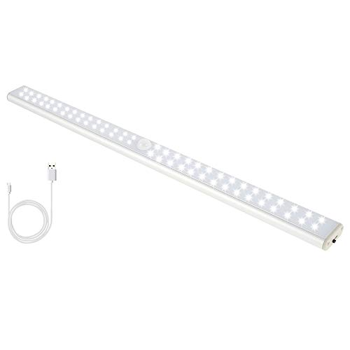 Beenle-Icey 40 CM Luce LED,Luce LED Sottopensile Cucina Senza Fili con Pile Ricaricabile con USB Striscia Magnetica Adesiva Luce del Governo Sensore di Luce Rilevamento del Movimento (40 CM 60 Luci)