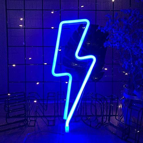 Beenle-Icey LED a Forma di Fulmine, Neon Fulmine da Parete LED Lightning Shape Neon Sign Light Decorazione Stanza Del Bambino Natale Matrimonio Partito USB/Batteria due Metodi di Alimentazione (Blu)