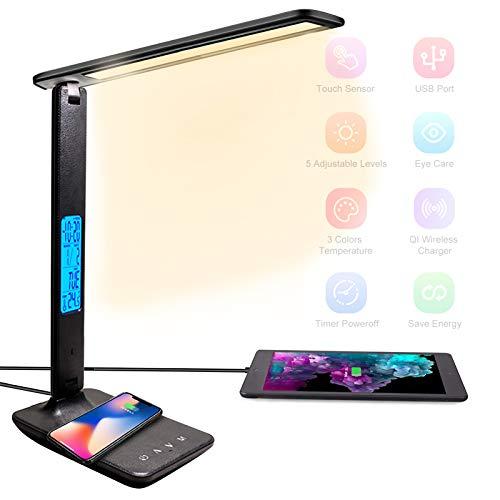 BelonLink Lampada da Scrivania LED, Ricarica Wireless, USB Per Smartphone, Dimmerabile, Touch Controllo,5 Livelli Di Luminosità e 3 Modalità di Illuminazione, timer [Classe energetica A+++] (Nero)