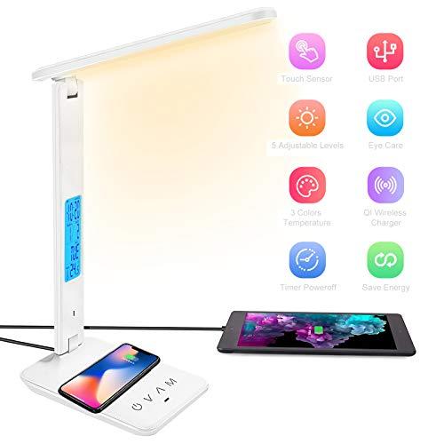 BelonLink Lampada da Scrivania LED, Ricarica Wireless, USB Per Smartphone, Dimmerabile, Touch Controllo,5 Livelli Di Luminosità e 3 Modalità di Illuminazione, timer [Classe energetica A+++] (Bianca)