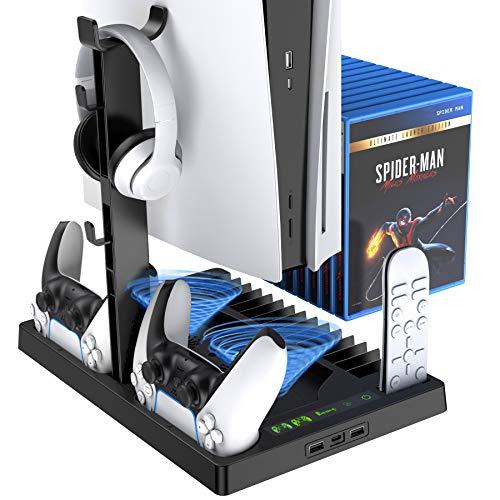 Benazcap è Adatto per Playstation 5 Versione Digitale 5 in 1 Supporto Verticale, Ventola di Raffreddamento con Porta Caricatore a Doppio Controller Supporto per Gioco Base Stazione di Ricarica PS5