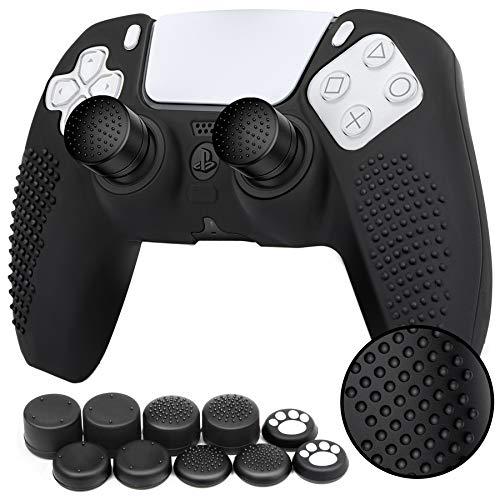 Benazcap Cover Skin in Silicone Antiscivolo Accessori per Controller PS5 Grip Skin x 1 (Nero) con Attacchi PRO FPS Gommini Joystick Thumb Grip Attacchi x 10 (5 Paia)