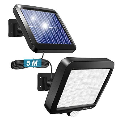 Benma Lampada Solare con Sensore, cavo 16 piedi 56 LED Luce da Esterno ad Energia Solare Impermeabile Sensore di Movimento per Giardino, Patio, Parete, Cortile, Scale, Muro