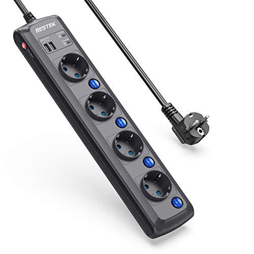 BESTEK 2000J Multipresa Elettrica 4 Prese, Ciabatta Elettrica 2 USB con 4 Interruttori Indipendenti Protezione Anti-fulmine Protezione da Sovratensione, 3600W/16A-Cavo 1.8m, Nero