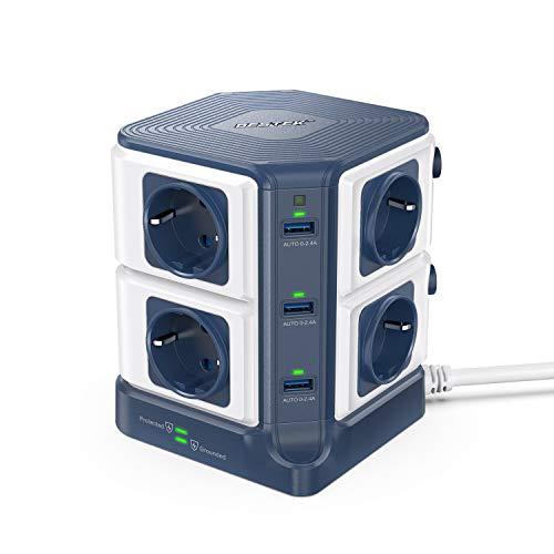 BESTEK Multipresa Ciabatta Elettrica con 8 Prese Schuko e 6 Porte USB, Multipresa Elettrica Verticale con Interruttori Indipendenti(1500J Surge Protezione, 3600W/16A, 3m Cavo)-Blu
