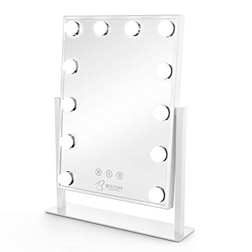 Bestope - Specchio da trucco Hollywood con 12 lampadine LED, specchio cosmetico 3 colori regolabile, grande specchio per trucco luminoso con ricarica USB