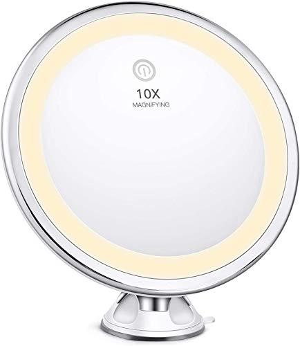 BESTOPE Specchio Trucco Professionale,Specchio Cosmetico a 3 Modalità di Illuminazione con Ingrandimento 10X,Tocco Intelligente, Rotazione a 360 Gradi e Blocco Aspirazione, per Bagno e Viaggi