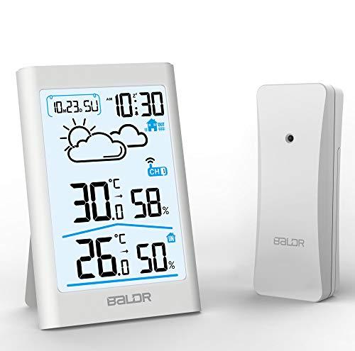 BETECK Stazione Meteorologica, Termometro Digitale con Schermo LCD, Display Temperatura, umidità, Ora, Data, Previsioni del Tempo per Casa Ufficio