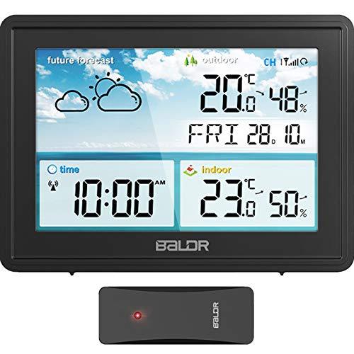 BIMONK Stazione Meteo, Stazione Meteorologica con Sensore Esterno, Previsioni del Termometro Igrometro Digitale con LCD a Colori Visivo a 360 ° con Sveglia, per Misura Interno Esterno Temperatura