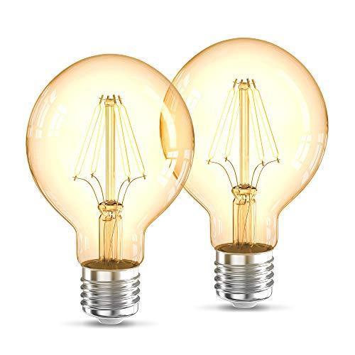 B.K.Licht 2 Lampadine LED vintage Edison, attacco grosso E27, luce calda 2200K, 4W, 320Lm, forma globo G80, Set di 2, lampadina con filamento, lampadina retrò con vetro ambrato, lampadina d'epoca