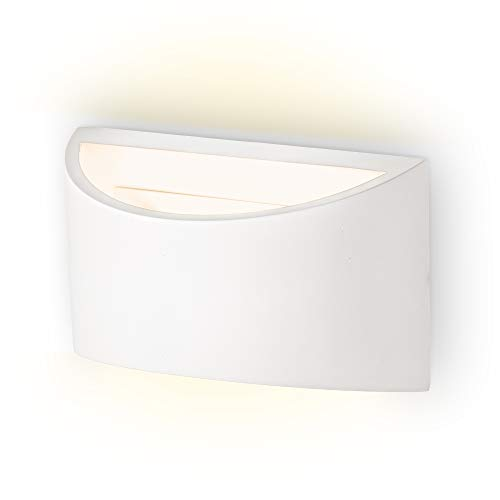 B.K.Licht Applique da parete interni, lampada da parete in gesso, attacco per lampadina G9 non inclusa, luce verso l'alto e il basso, design moderno, bianca, IP20