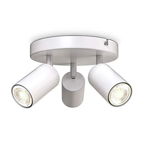B.K.Licht faretti da soffitto orientabili, attacco per 3 lampadine GU10 non incluse, plafoniera moderna in metallo bianco, diametro 19cm, lampada da soffitto rotonda per camera da letto o salotto