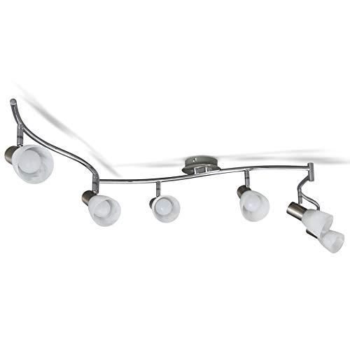 B.K.Licht Faretti LED a soffitto orientabili, include 6 lampadine E14 da 5W, luce calda 3000K, plafoniera moderna a soffitto per l'illuminazione da interno, lampadario in metallo e vetro 230V IP20