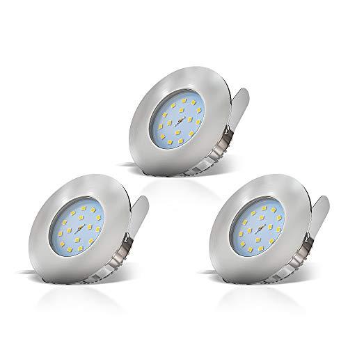 B.K.Licht Faretti LED ad incasso, led integrati 5W, diametro foro 60mm, faretti per bagno ultrasottili da soffitto, luce calda, plastica color nickel opaco, set da 3, 230V, IP44