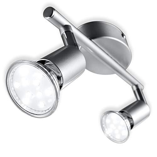B.K.Licht Faretti LED da soffitto orientabili, include 2 lampadine GU10 da 3W, luce calda 3000K, plafoniera LED moderna da soffitto, corpo in metallo color titanio, 230V, IP20