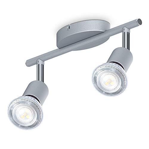 B.K.Licht Faretti LED da soffitto orientabili, include 2 lampadine LED GU10 da 5W 400Lm, luce bianca neutra 4000K, plafoniera moderna in metallo, lampada da soffitto color titanio IP20