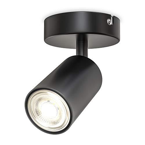 B.K.Licht Faretto da parete o soffitto orientabile, attacco per lampadina GU10 non inclusa, plafoniera in metallo nero opaco, lampada da soffitto per ingresso, applique per camera da letto o corridoio