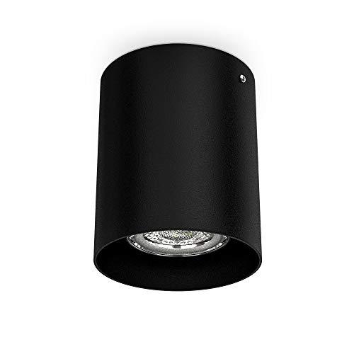 B.K.Licht Faretto da soffitto, attacco per lampadina GU10 non inclusa, Lampada da soffitto rotonda, diametro 8cm, metallo colore nero, Plafoniera per cucina, entrata, corridoio, scale 230V IP20