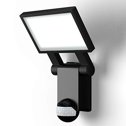 B.K.Licht Faro LED esterno con sensore di movimento e crepuscolare, luce bianca naturale 4000K, lampada da parete con accensione automatica, 20W, IP44, faretto nero, luce LED per cortili 230V