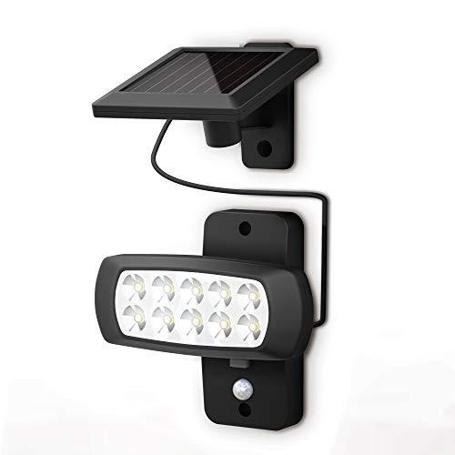 B.K.Licht Faro LED solare esterno con sensore di movimento e crepuscolare, luce fredda 6500K, luce di sicurezza con accensione automatica, pannello solare, lampada da parete per cortile, nero, IP44