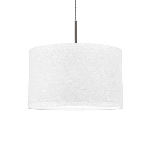 B.K.Licht Lampada a sospensione in tessuto bianco, attacco per lampadina E27 non inclusa, paralume diametro 38cm, Lampadario moderno per sala da pranzo o camera da letto, IP20