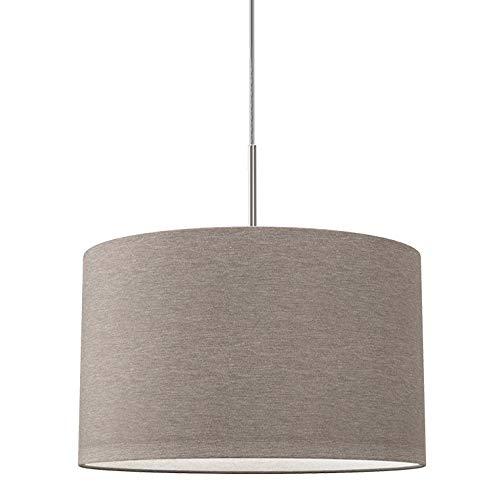 B.K.Licht Lampada a sospensione in tessuto color grigio-talpa, attacco per lampadina E27 non inclusa, paralume diametro 38cm, Lampadario moderno per sala da pranzo o camera da letto, IP20