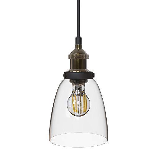 B.K.Licht Lampada a sospensione vintage in metallo e vetro, lampada da soffitto con attacco per lampadina E27 (non inclusa), lampadario stile industriale, plafoniera moderna per sala da pranzo IP20