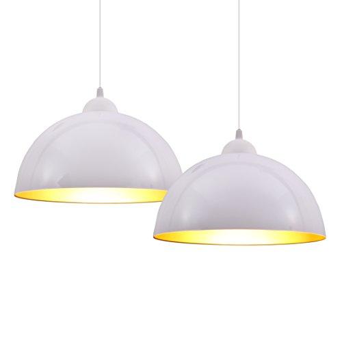 B.K.Licht Lampada a sospensione vintage industriale, set da 2, diametro 30cm, adatto per lampadine LED E27, selezionabile in bianco e nero, per soggiorno, sala da pranzo, taverna, ecc.